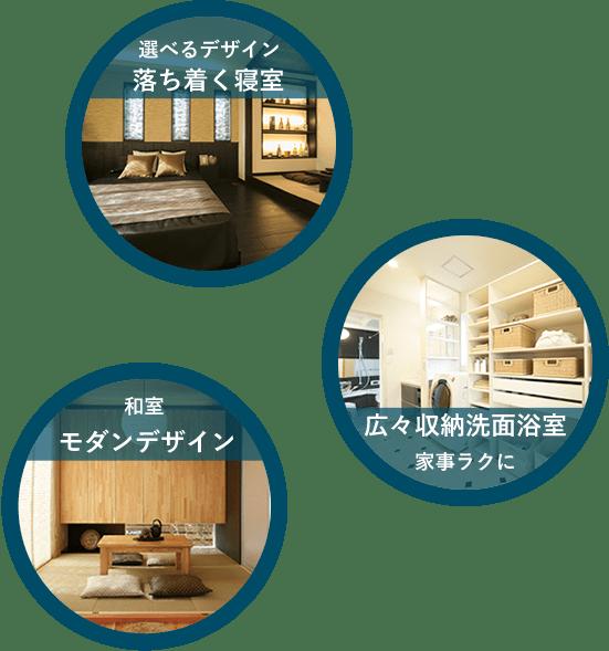 落ち着く寝室、広々収納洗面浴室、モダンデザイン等